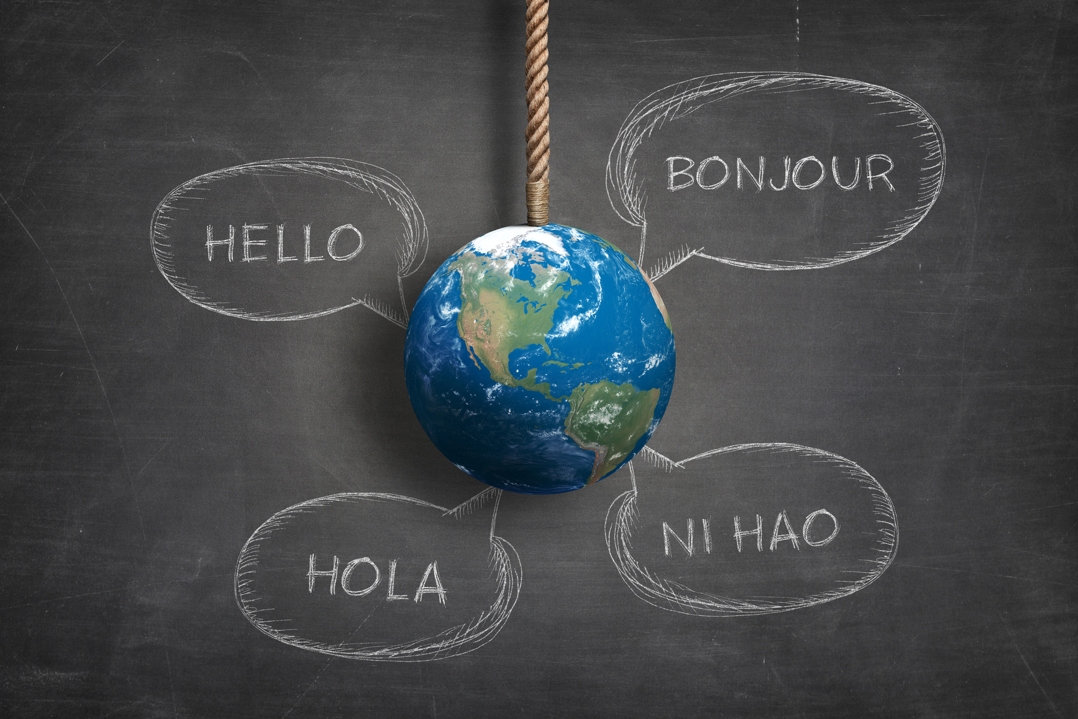 image of planet earth surrounded by several translations of the word hello