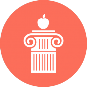 graphic logo of a column with an apple on it